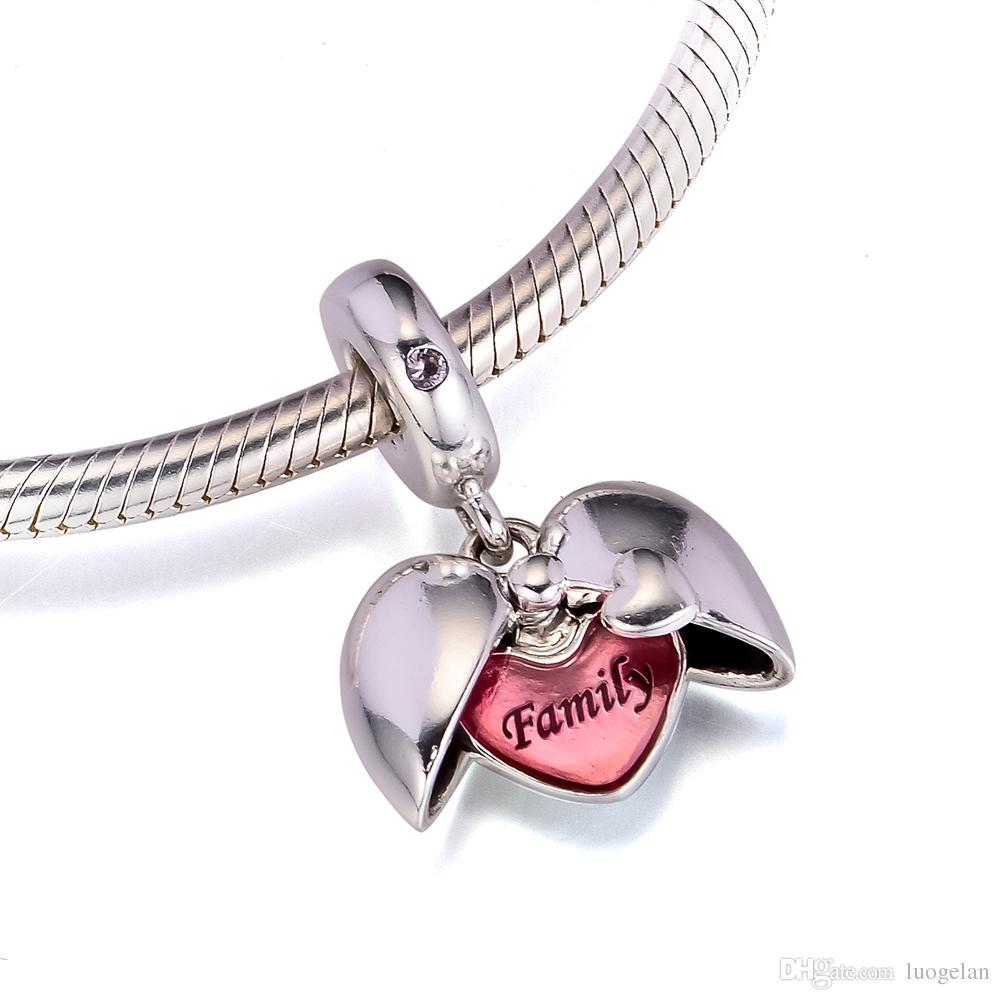 2018 Autumn 925 Sterling Silver Jewelry Family Locket Dangle Charm Beads Fits Pandora Bracelets Necklace For Women Jewelry Making