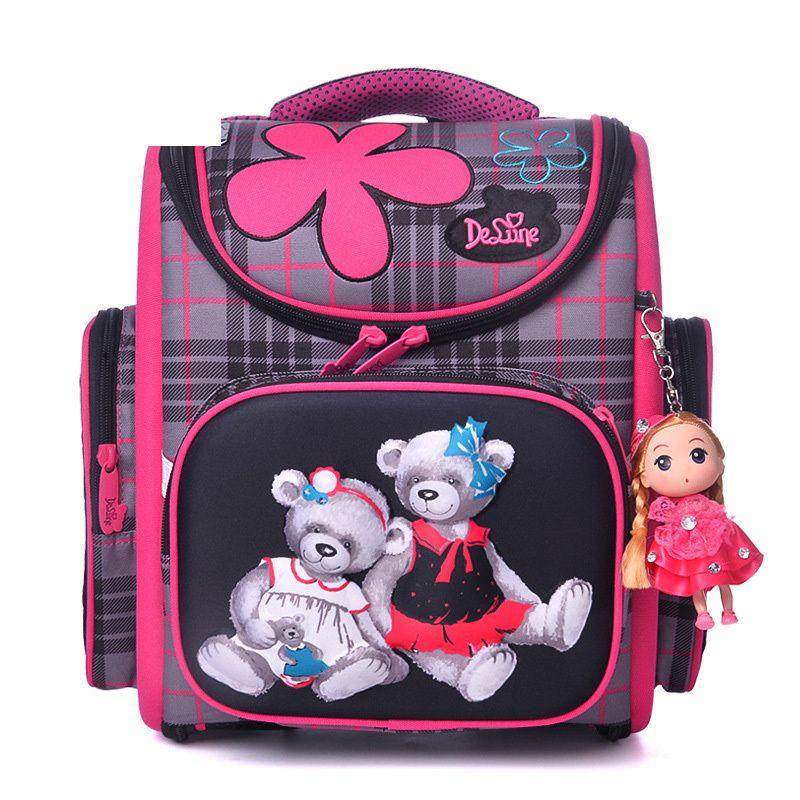 95cbb957c5 2019 Delune Large Capacity Girls Cartoon School Backpack Kids Orthopedic 5  8 Years Old Children Bear Pattern School Bag Backpack Black Leather Backpack  ...