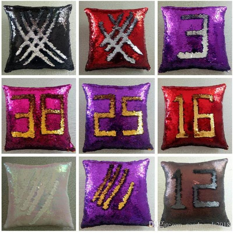 DIY Mermaid Sequins Cushion Cover Magical Colorful Throw Pillow Case Two Color Changing Reversible Cushion Cover 39 Design