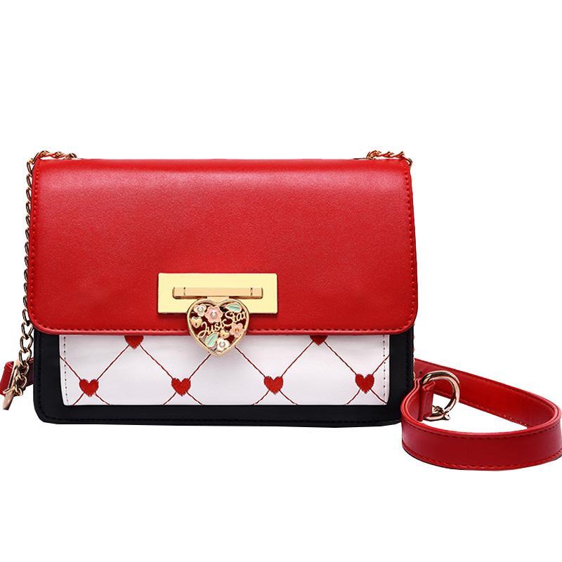 a2f7f14d7a65 Сумка Girl 2019 Модные женские сердечные цепочки Столкновения Небольшие квадратные  сумки Плечо Наклонные Кошельки и сумки Вечерние клатчи