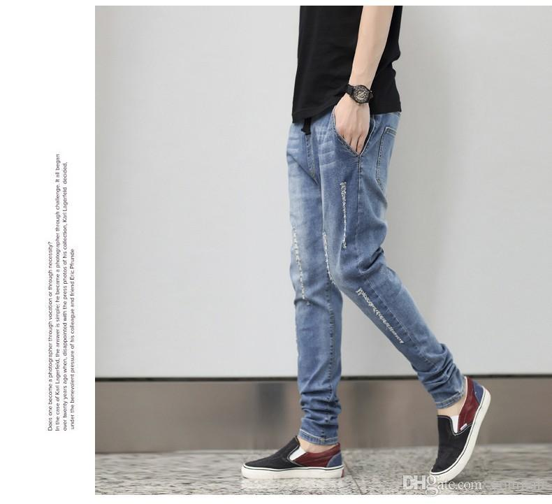 Wholesale fashion new arrive men pencil harem cotton jeans hole low crottch elastic plus size plus size men pencil jeans