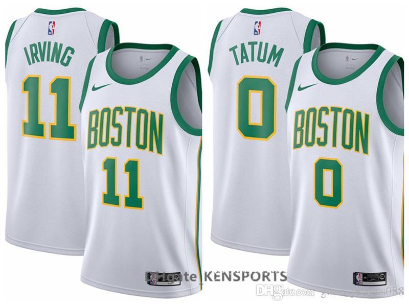 the latest d8f66 13a47 Newest 2019 Men Boston City Edition Basketball Celtics Jersey 0 Jayson  Tatum 11 Kyrie Irving Stitched Basketball Jerseys - White