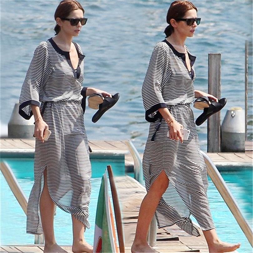 a4383e17b5 2019 2019 Chiffon Beach Cover Up Bathing Suit For Women Pareo Beach Swim Cover  Up Saida De Praia Robe Plage Striped Dress From Winterleng, $27.05 | DHgate.