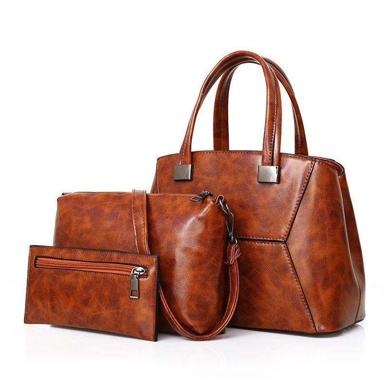 3PscWomen Fashion Handbags Large Capacity Female Brand Leather Bag 2019  Luxury Handbag Simple Composite Shoulder Tote Bag Top-Handle Bags Cheap Top- Handle ... 55511c16aaeb3
