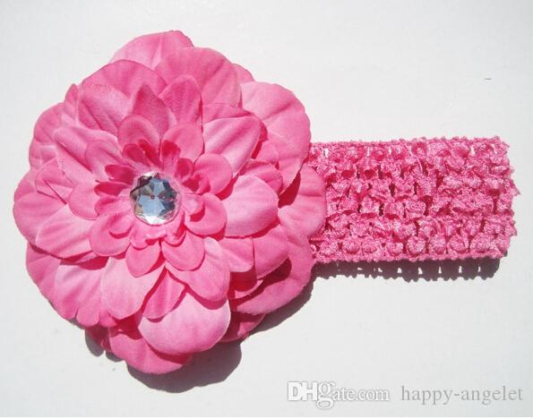 Banda de pelo de la muchacha Peony con Crystal clips suave venda del ganchillo de Headwrap del bebé de la flor accesorios Headwear GZ7425