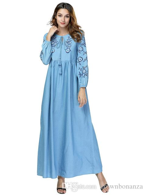 Women Denim Maxi Dress Plus Size 4XL Spring Long Sleeves Flowers Embroidery  Jeans Dress Korean Laides Loose Pleated Cowboy Dress