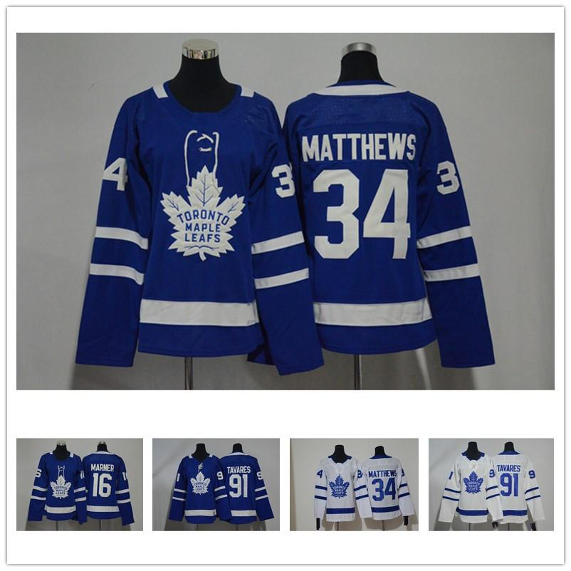Womens 2018 19 Toronto Maple Leafs Mitchell Marner Auston Matthews John  Tavares Stitched Name Number Ladies Ice Hockey Jersey UK 2019 From Fsclz 7904a14921