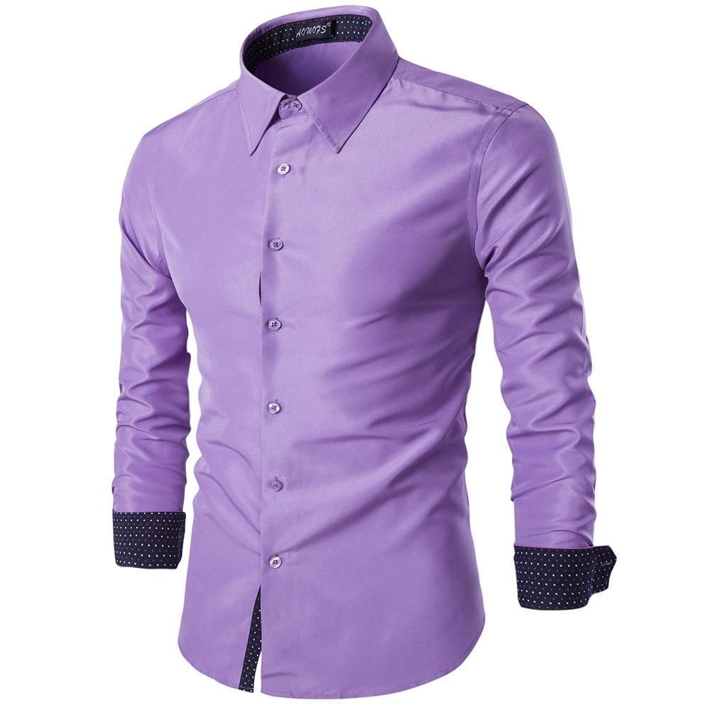 fbe27a8acce87 2019 019 New Spring Cotton Shirts Men High Quality Long Sleeve Slim Fit  Shirt Pure Color Modern Casual Camisa From Instachic