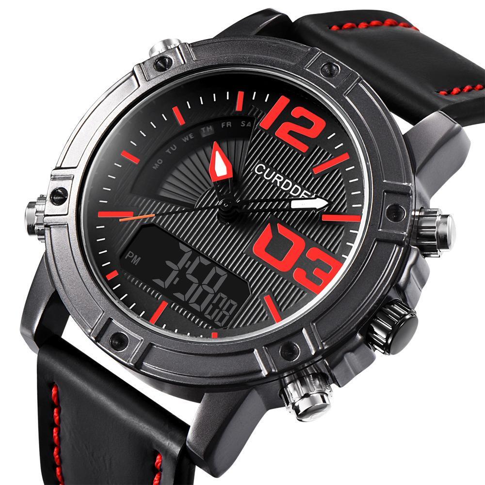 de046b24fb54 Compre Relojes De Cuero Para Hombre Reloj Deportivo Para Hombre Reloj De  Cuarzo LED Digital Para Hombre Reloj Deportivo De Doble Pantalla A  54.22  Del ...