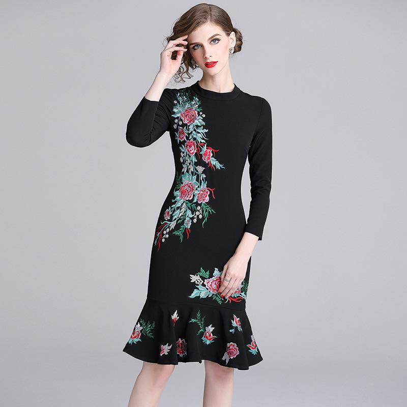 bae998a7bb74 2019 Women Lady Party Bodycon Dresses Prom Event Mermaid Gown Floral  Embroidery Long Sleeve Black Evening Dresses From Sinofashion, $47.24 |  DHgate.Com