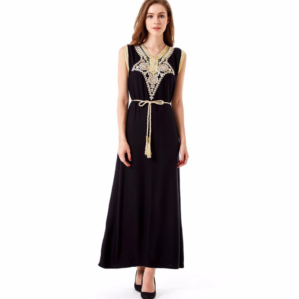 56089172f80 2019 Summer Boho Style Islamic Muslim Women Clothing Kaftan Caftan Bohemian  Vintage Embroidery Long Maxi Dress Vestidos De Festa 1621 Y190417 From ...