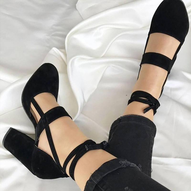 51f409977c1e4 Designer Dress Shoes Women High Heel Ankle Strap Flock Rome Style ...