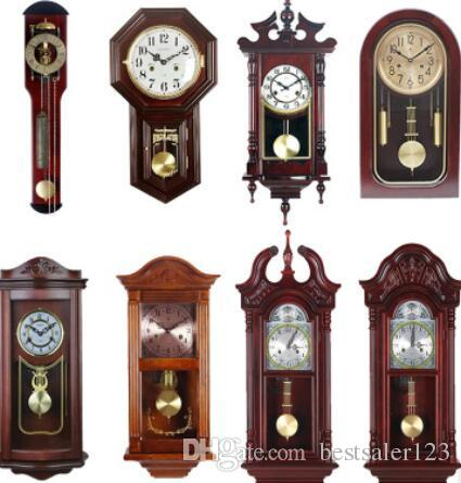 Authentic old-fashioned Fengshui solid wood mechanical wall pendulum clock  for sitting room seat pendulum clock stop alarm copper core swing