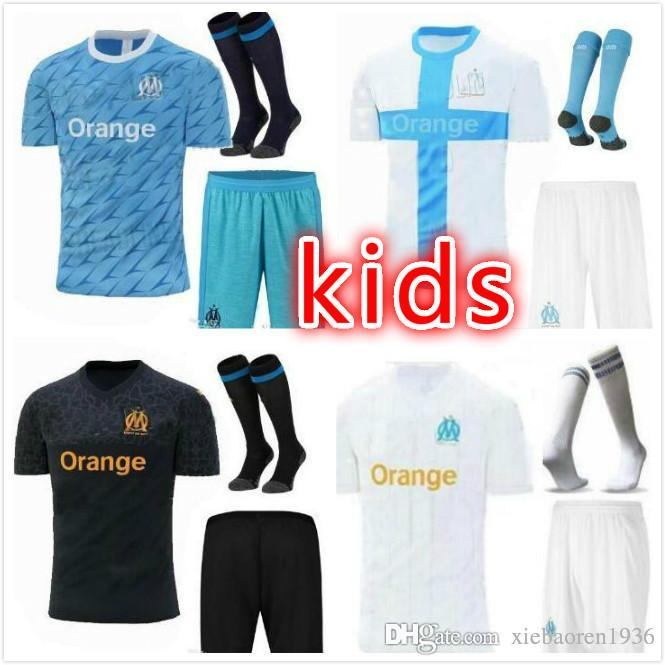 kids kit 2019 2020 Olympique de Marseille soccer jerseys 19 20 THAUVIN  L GUSTAVO home away third boys child football shirts maillot de foot