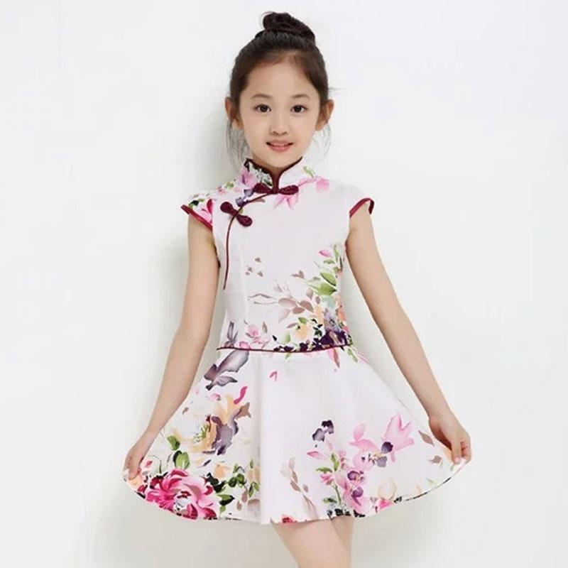 d265a5dd2af0 2019 Chinese Traditional Dress Children Clothes Oriental Style Cheongsam  Short Sleeve Dress Cotton Girls Clothing Chinese Cheongsam From Alluring,  ...