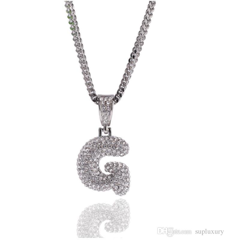 Iced out Chains Stainless Steel Designer Necklace full Diamond 26 Letter Pendant Necklace Vacuum Plating Color Jewelry