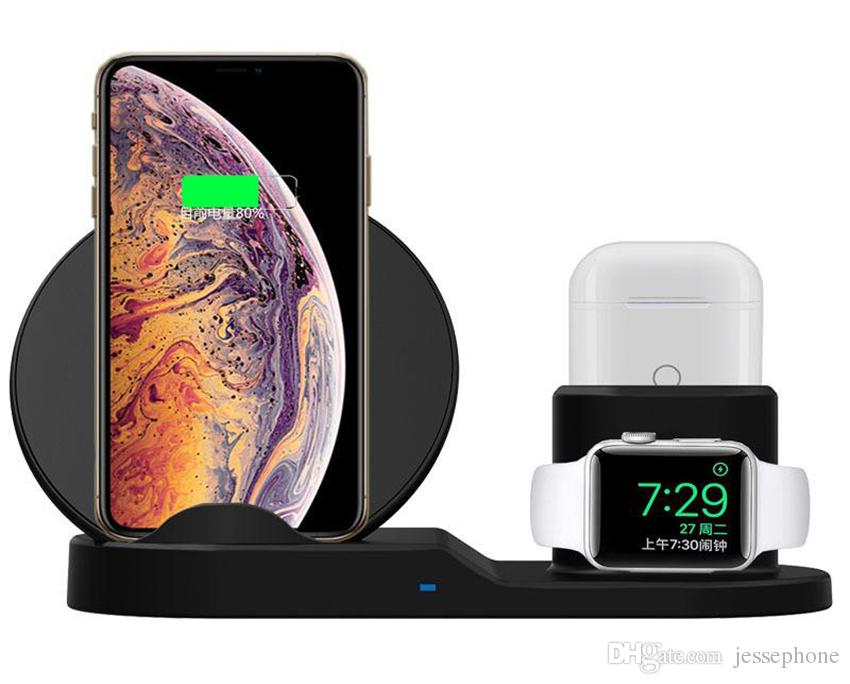 QI Soporte de cargador inalámbrico para iPhone 8 Plus X XS Estación de muelle de carga inalámbrica Max XR 3 en 1 para Apple AirPods Reloj de Apple 2 3 4 + caja 1pcs
