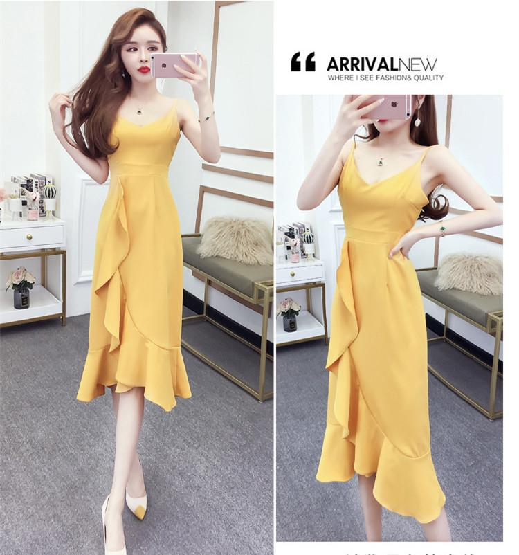 4cb65bdf105a Summer 2019 Korean Sexy Women Beach Dress Seaside Holiday Bali Lotus Leaf  Sling Backless Empire Long Skirt QC0185 Pretty Dresses Night Dresses From  ...