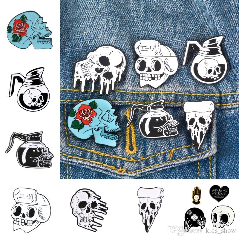 Halloween Skull lega Pin Spilla smalto Halloween Pin Spilla Horror Skull Rose lega dello smalto di accessorio per il vestiario