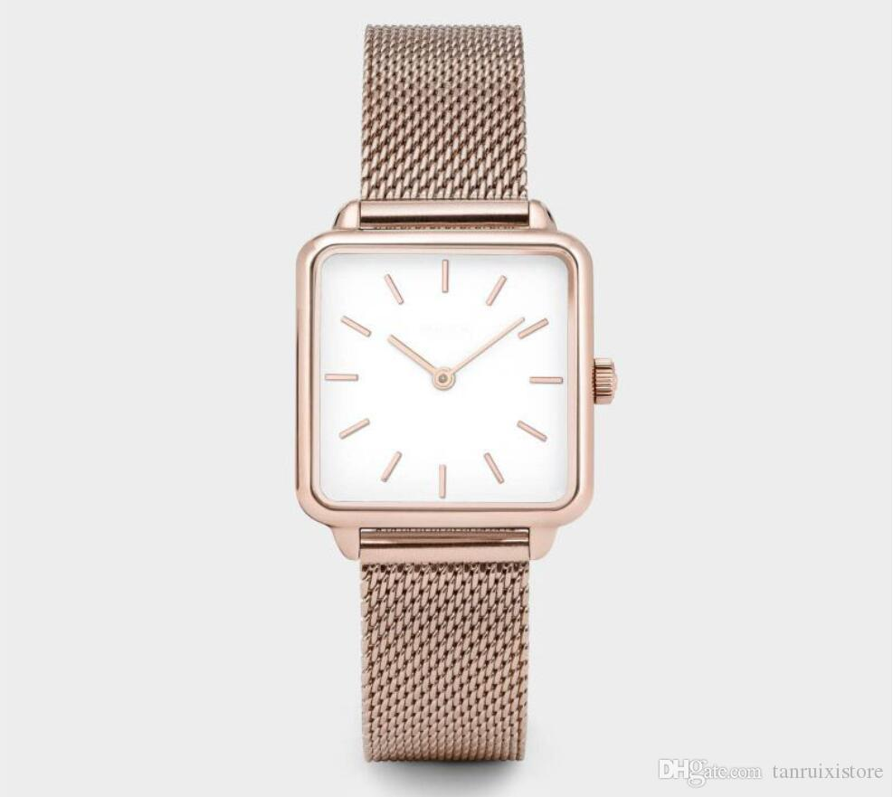 Square Brand Women Men Watch Luxury Watches Classic Quartz rose gold silver color Dress Watch Bracelet Wristwatch special style free ship
