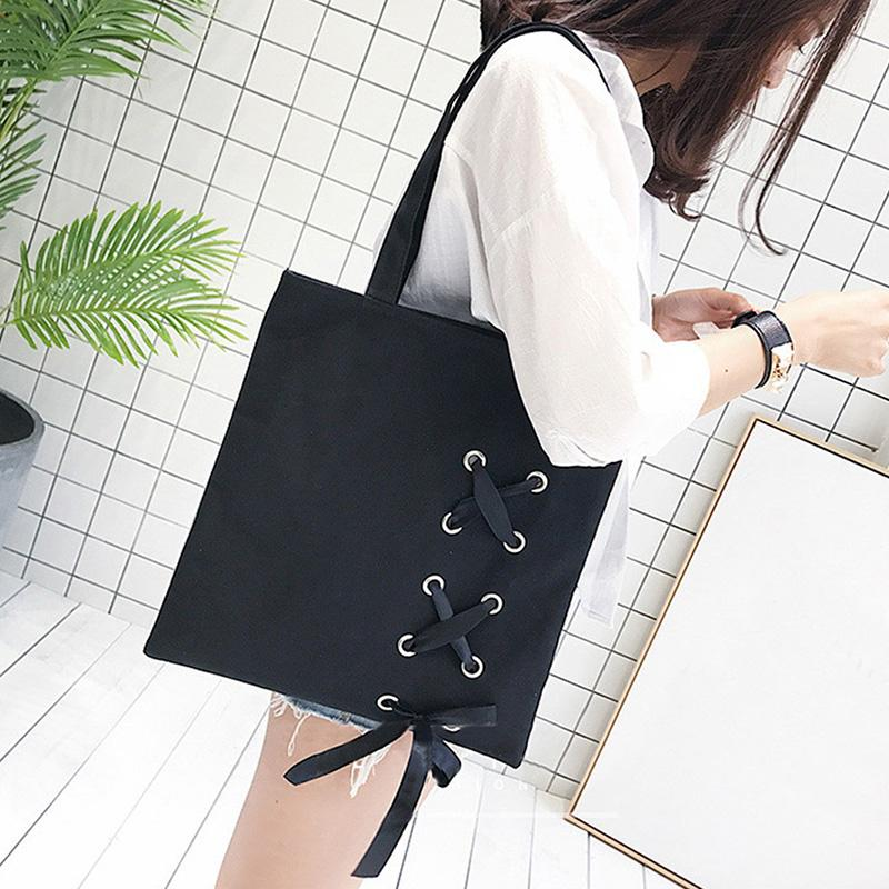 LJL New Women's Casual Lace-up Canvas Tote Bag Female Canvas Shoulder Bags crossbody bags for women Beach bag bolso mujerBlac