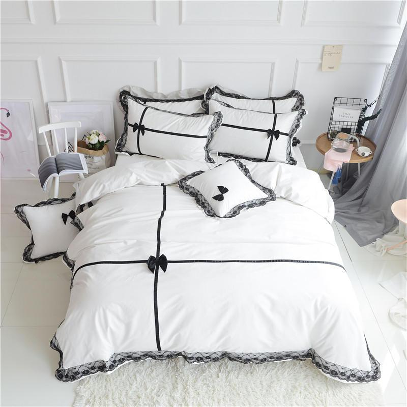 Luxury 100% cotton Bedding set King Queen size 4Pcs White/black Wedding Bed set Duvet cover Bedsheet Korean lace bow gift