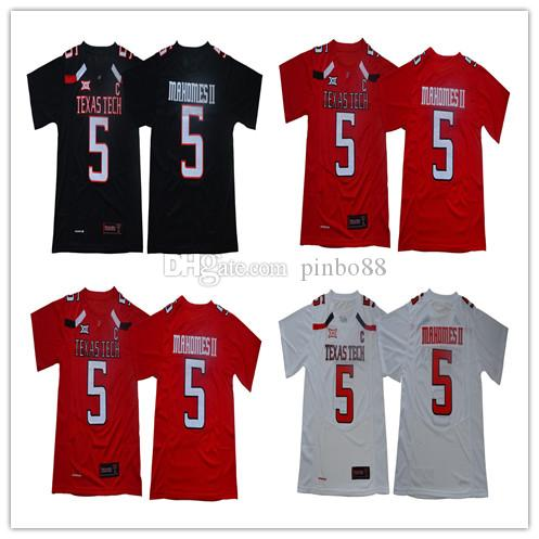 ce94a1af3a4 2019 NCAA Texas Tech #5 Patrick Mahomes II Football Jersey 2019 KC #15  Jersey TTU Red Raiders Michael Crabtree Men College White Football Jerse  From Pinbo88 ...