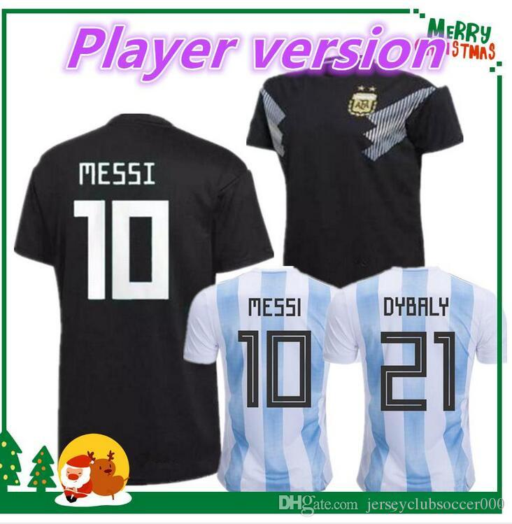 af5c2ade712 2019 Player Version 2018 World Cup Argentina Home Soccer Jersey Argentina 10  MESSI Soccer Shirt  21 DYBALA  9 AGUERO Away Black Football Uniforms From  ...