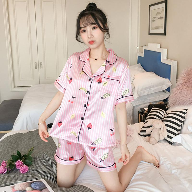 630a8f0aa433 2019 Cute Pink Stripe Women Pajamas Faux Silk Satin Short Sleeve Pyjamas  Set For Girl Nightwear 2019 Summer Suit Sleepwear Suit From Zijinflo