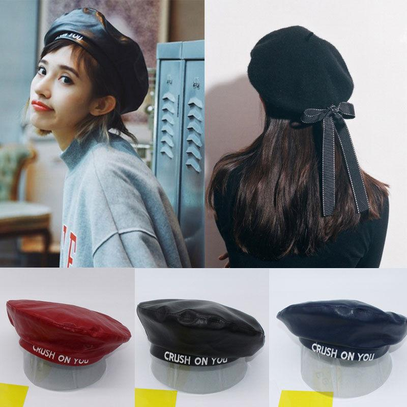 9fa7b6ef54b 2019 Women S PU Faux Leather Beret Hat Sweet Solid Warm Wool Winter Back  Bowknot Beret French Style Lady Cap All Match Hat From Runyutian