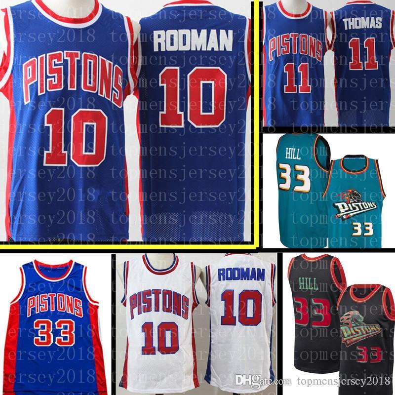 1280bf6a1f5 2019 Retro Mesh Dennis 10 Rodman Jersey 11 Isiah Mens Thomas Detroit Hill  Pistons 33 Grant Hill Basketball Jerseys From Topmensjersey2018