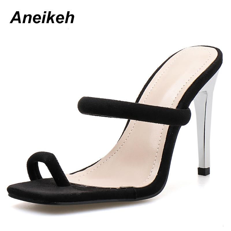 ad835f178 Aneikeh 2019 Gladiator Fashion Summer Flock Thin High Heel Slippers ...