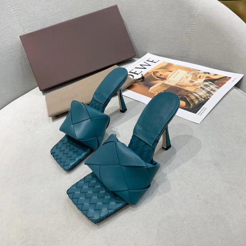 Mules pelle Sexy Ladies Lido sandali tessuto con Squared Sole Women Sexy Beach Slipper diapositive sandalo Due Tacchi scarpe piane morbida Leathe EU42