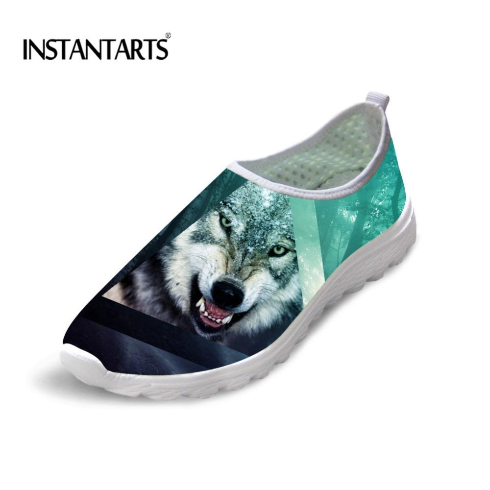 05e7d9f28e3 INSTANTARTS Autumn Female Fashion Flats Shoes 3D Cool Wolf Pattern Loafers  Slip On Women Soft Air Mesh Sneakers Lady Beach Shoes Pink Shoes Vegan  Shoes From ...