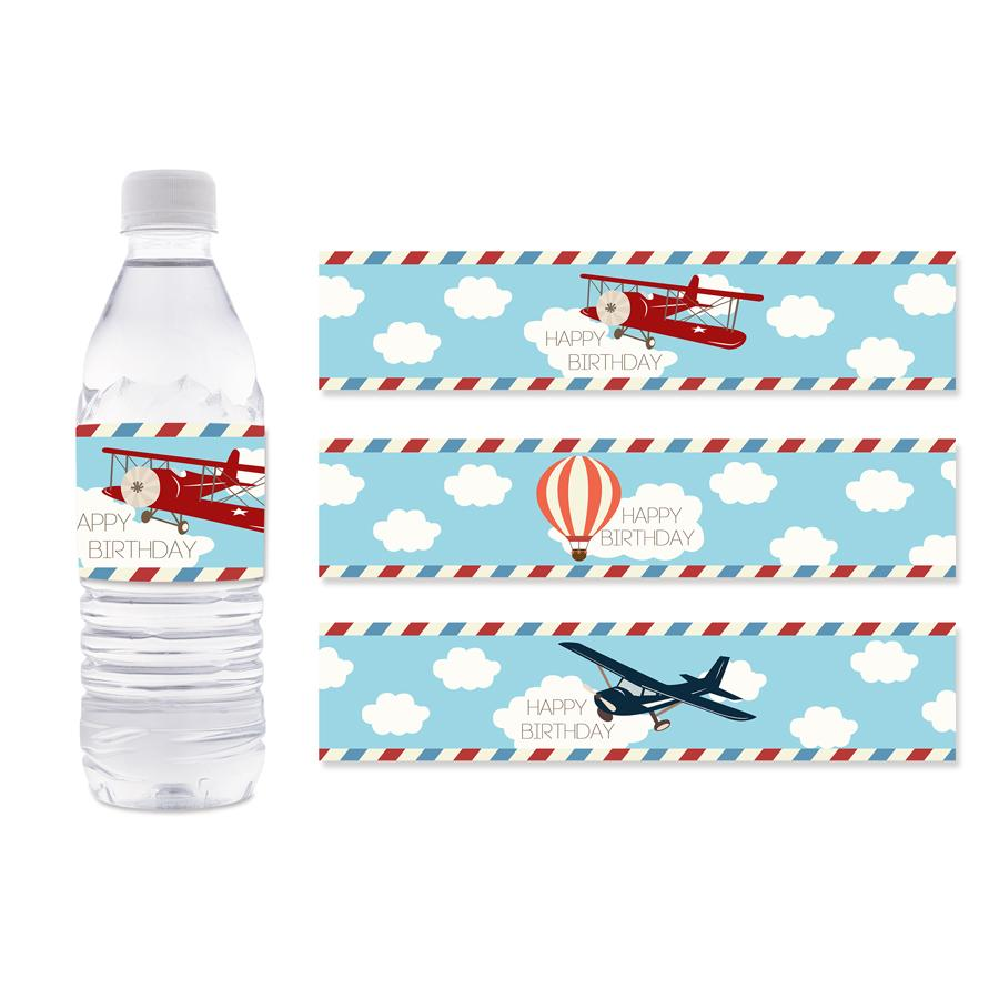 Airplane Water Bottle Labels Hot Air Balloon Water Bottle Labels Kids Birthday Party Decoration Supplies Airplane Baby Shower