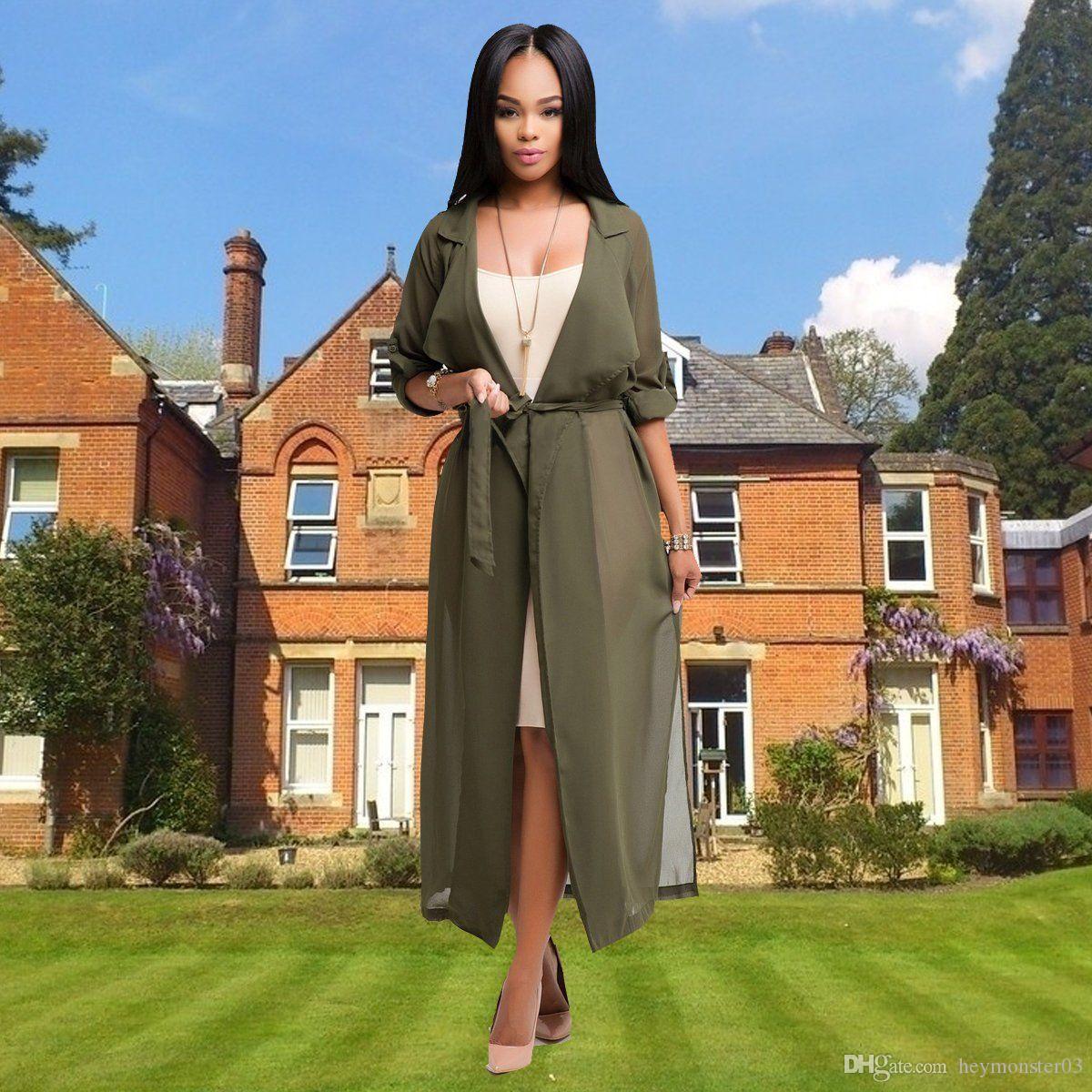 56d9b501e4d4 Осень весна женщины пальто с длинным рукавом отложным воротником кардиган  водопад верхняя одежда уличная длинное пальто женские кардиганы