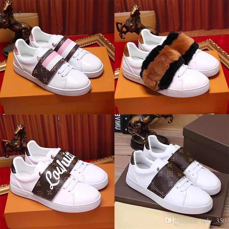 2e64ccdb9b 2019 Mens Luxury Designer Low Top Casual Shoes Frontrow Stellar Rivoli  Triple White Leather Womens Brand Fashion Designers Trainer With Box