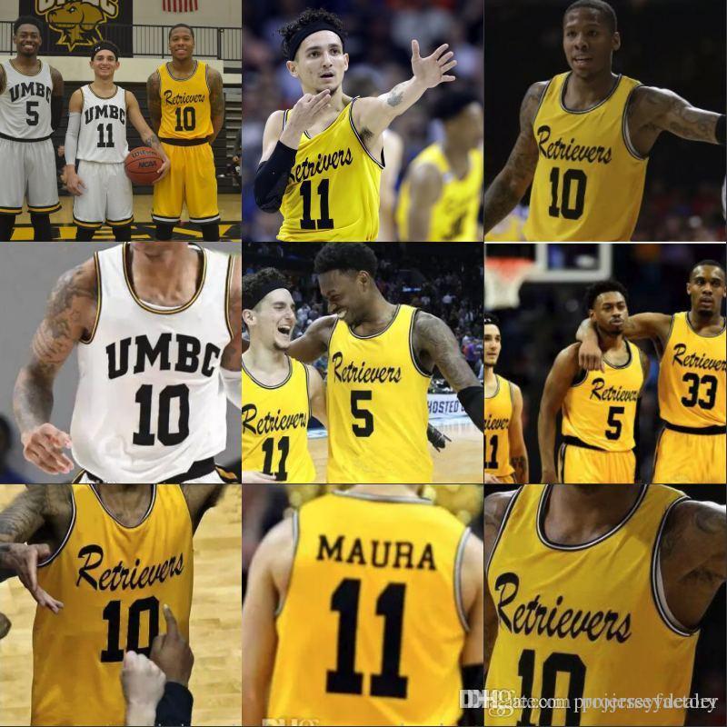 check out 077d2 8e904 Cheap UMBC Retrievers Gold Jersey #10 Jairus Lyles #11 K.J. Maura #33 Arkel  Lamar 5 Jourdan Grant Yellow Stitched College Basketball Jersey