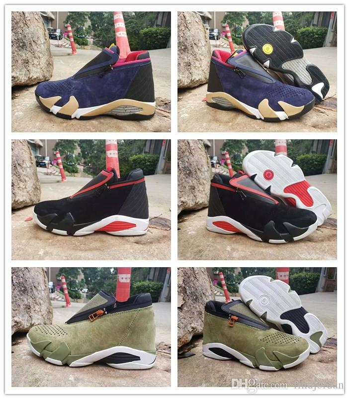 J14 Jumpman Z Olive classic Black/Red White/Purple men basketball shoes zipper enclosure 14s Mens sports designer sneakers with box