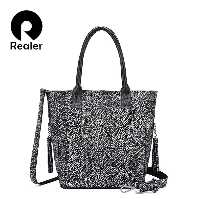 REALER Genuine Leather Shoulder Bag Women Handbags Designer Hobo Bag Tote  Fashion Ladies Bags Crossbody High Quality Female Cheap Designer Bags Mens  ... c2e3610a21056