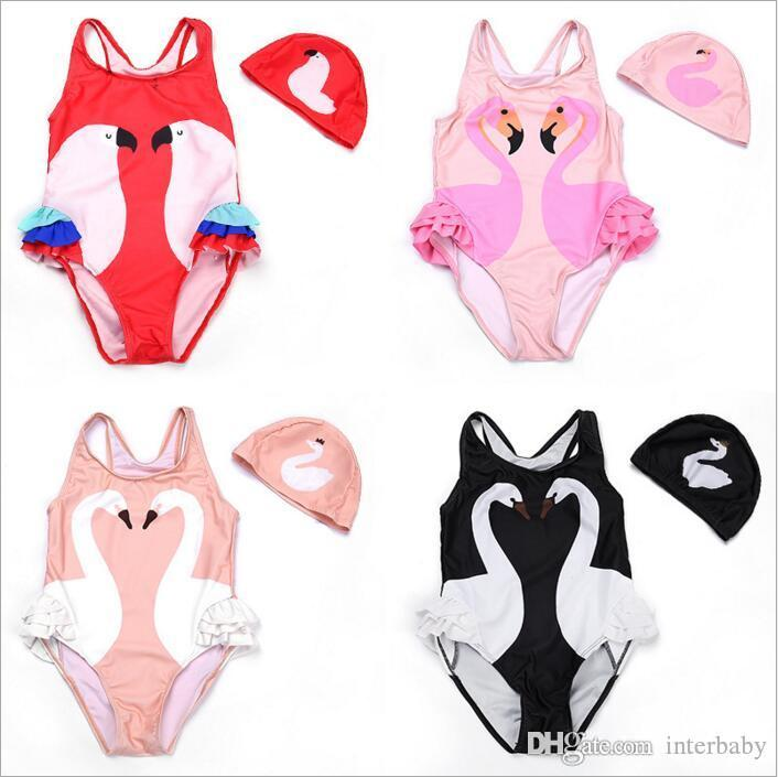Girl Bikini INS Flamingo Swimwear Swan Parrot Swimsuits Cartoon Printed Bathing Suits Swimming Caps Kid Beachwear Baby Clothing Sets BYP4162