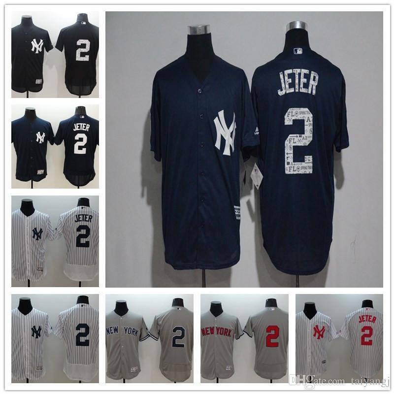 promo code d5c21 d3c20 Men's New York NY Yankees 2 Derek Jeter White grey black grey cool base  game high quality Baseball Jerseys free shipping
