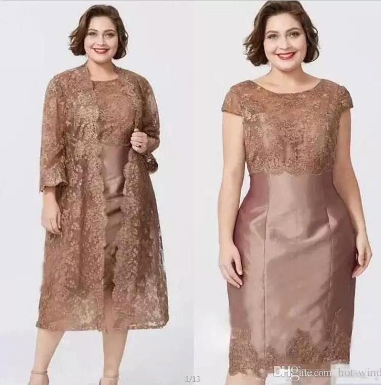 compre 2019 nueva apliques de encaje vestidos cortos para madres