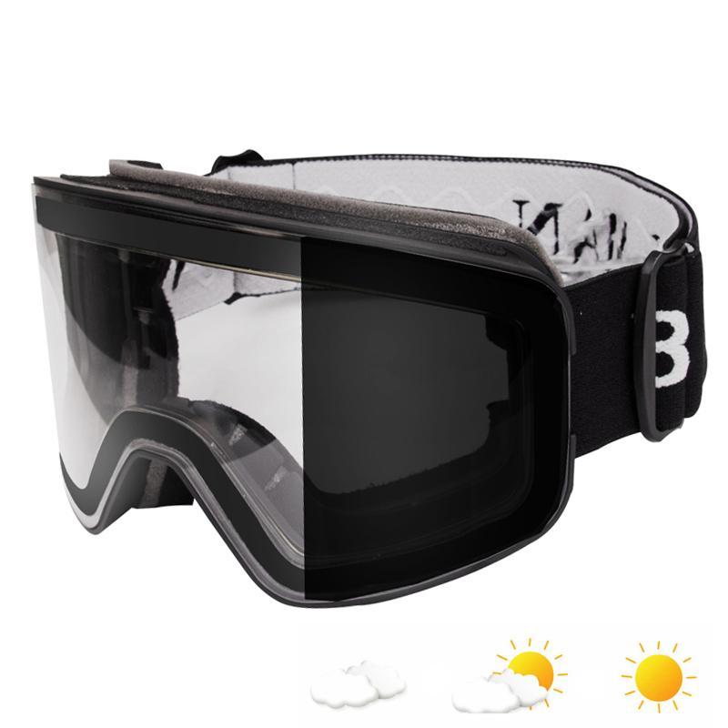 051289be270 Ski Goggles Photochromic Clear Anti Fog Double Layers Skiing Glasses ...