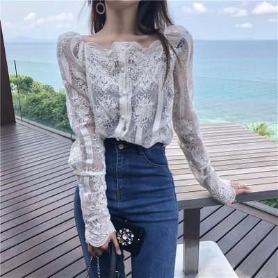 0773905b48cb4 2019 Young Gee Spring Summer Women Sexy Slash Floral Shirts Embroidery  Blouses Single Breasted Lace Long Sleeve Organza Tops Shirts blusa