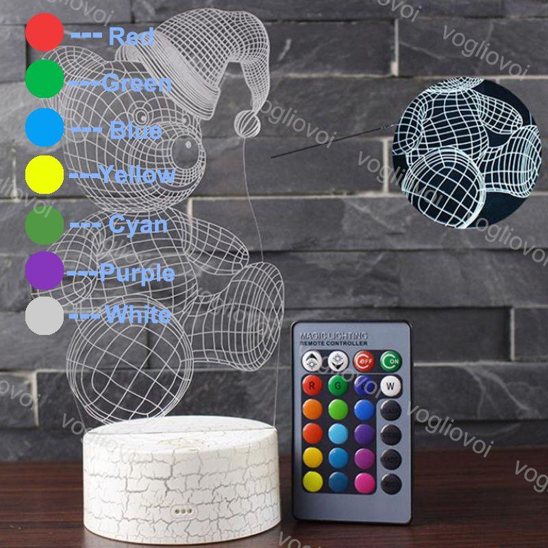 Veilleuse Dhl Noël 7 Cheval 3d Lampe De Ours Acrylique Table Decorative Home Couleurs Led Magique Illusion Change Coloré UMVpqzS