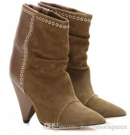 5c50c5a7 Compre 2018 Otoño Invierno Mujer Botines Spike Heels Lunares Gold Hole  Botines De Señora Shoes Mujer Bottes Femmes Patchwork A $199.0 Del  Xiangyu523 ...