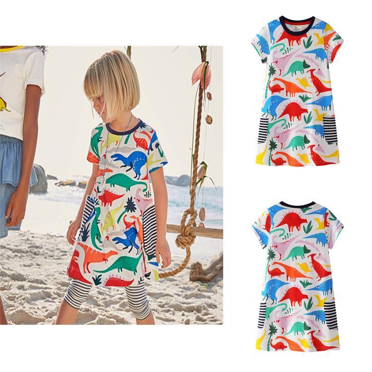 6d5d7502e1b27 Acheter 100% Coton De Bande Dessinée Imprimé Robe De Princesse À Rayures Enfants  Vêtements De Créateurs Filles Robe D été Bébé Vêtements Tunique Robes De ...