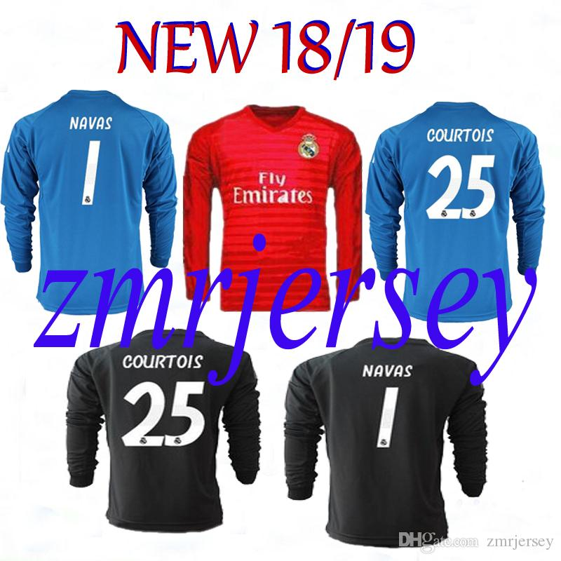 2018 2019 Camisetas De Portero Del Real Madrid 18 19 Camiseta Keylor Navas  Camiseta De Futbol Thibaut Courtois Real Madrid BALE Camisetas De Manga  Larga Por ... e006bb2205899