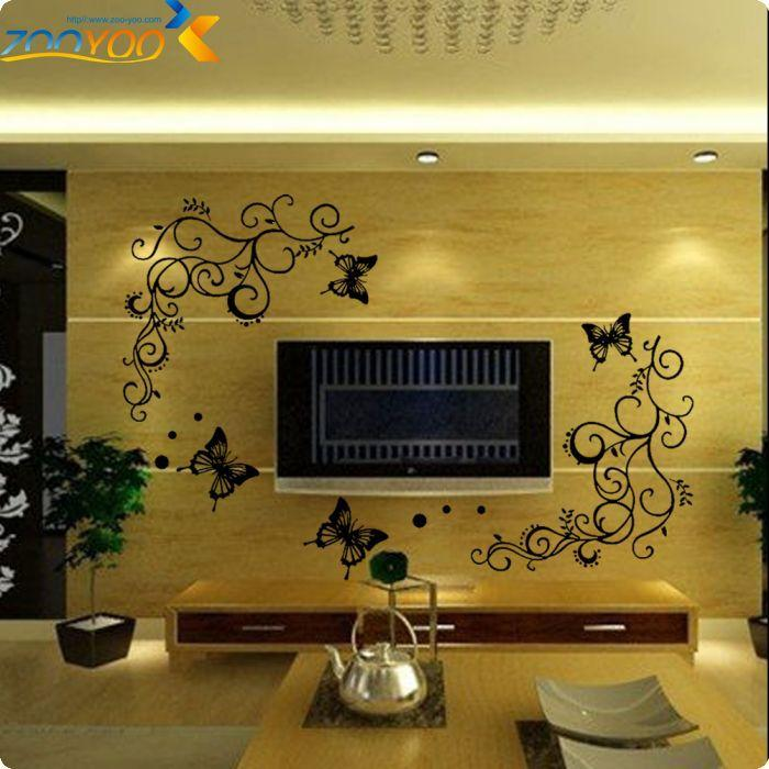 Classical Black Flower Vine Butterfly Wall Stickers Home Decor Living Room Furniture Fridge Bedroom Wall Decals Diy Mural Art